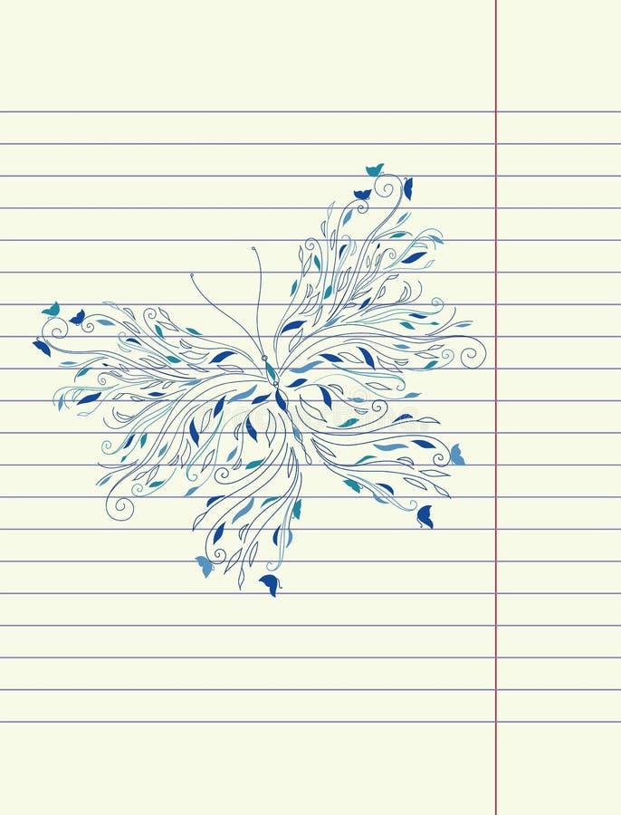 Vetor da borboleta do esboço do desenho da mão ilustração stock
