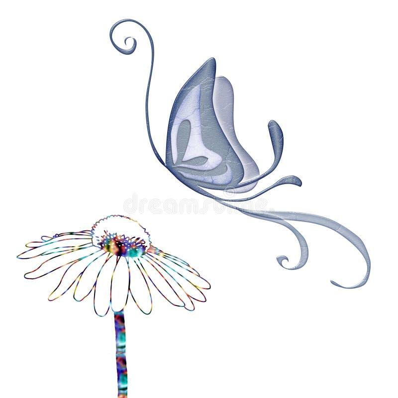 Vetor da borboleta e da flor ilustração stock