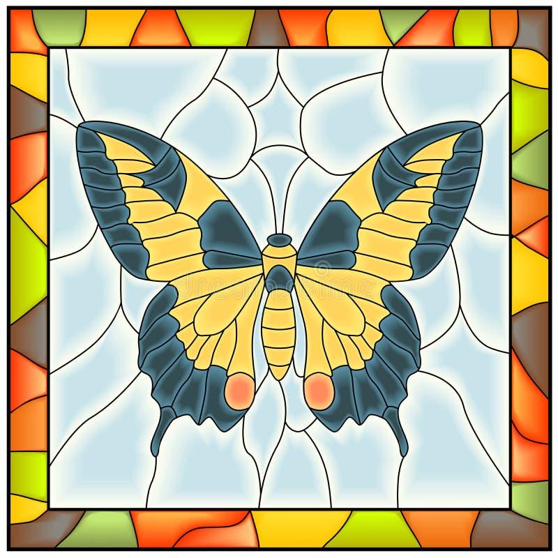 Vetor da borboleta no indicador de vidro colorido. ilustração royalty free