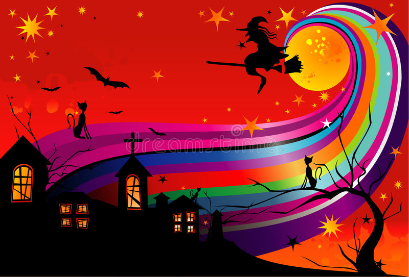 Vetor da bruxa de Halloween ilustração royalty free