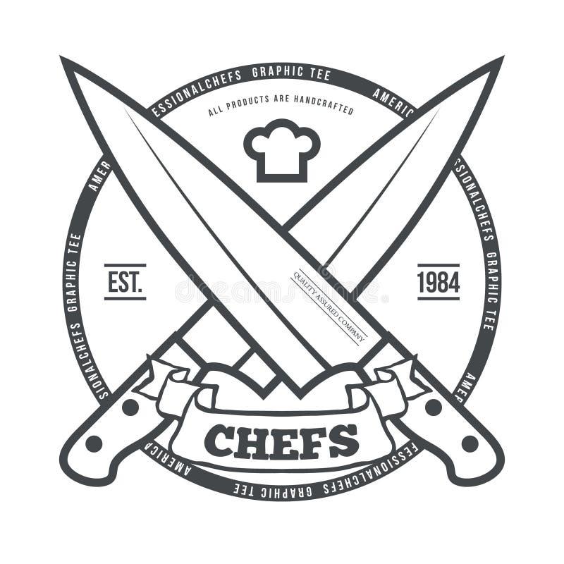 Vetor da cópia dos gráficos do t-shirt do vintage dos cozinheiros chefe ilustração royalty free