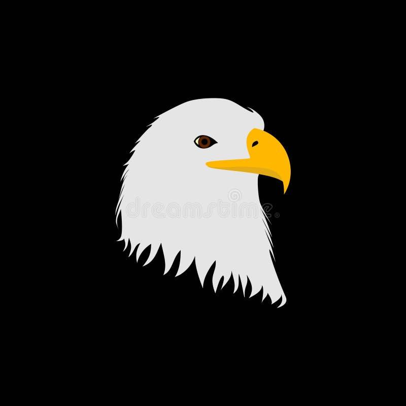 Vetor da cabeça de Eagle isolado no fundo preto ilustração stock