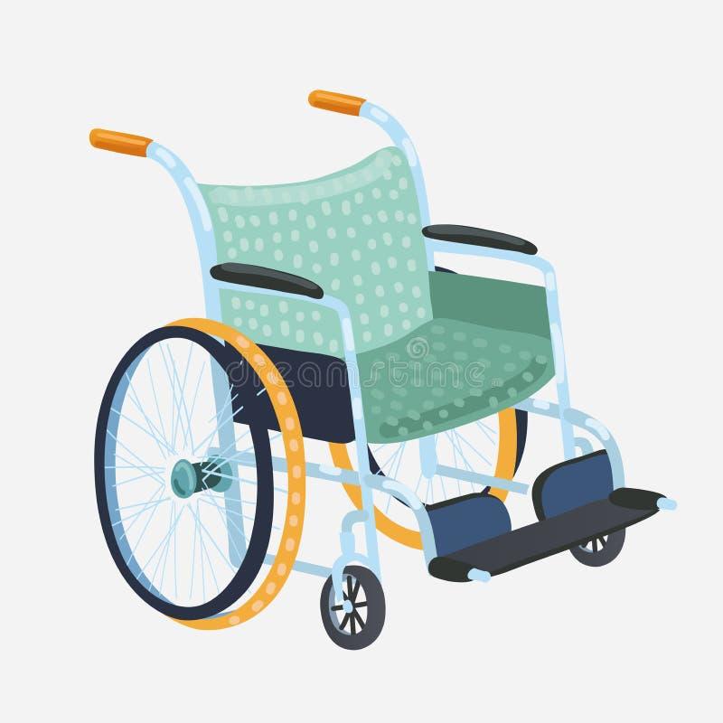 Vetor da cadeira de rodas Cadeira clássica do transporte para deficientes motores, doente, ou o equipamento ferido, médico ilustração do vetor