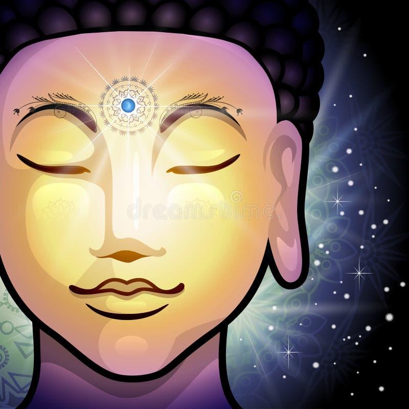 Vetor da cara da Buda ilustração do vetor