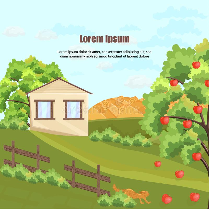 Vetor da casa da exploração agrícola Árvore e grama de Apple Fundos verdes bonitos da jarda da natureza ilustração stock