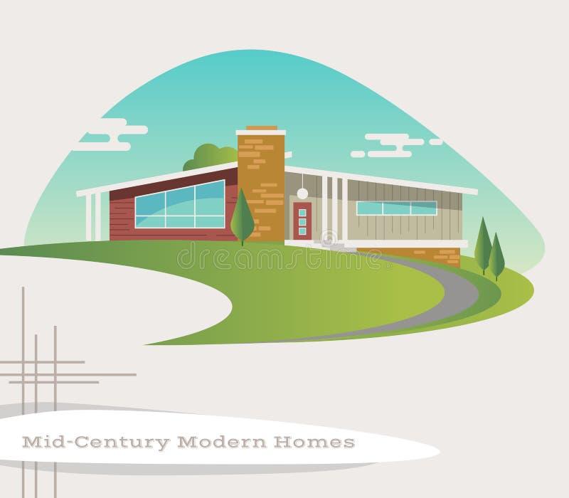 Vetor da casa moderna do estilo do século meados de ilustração do vetor