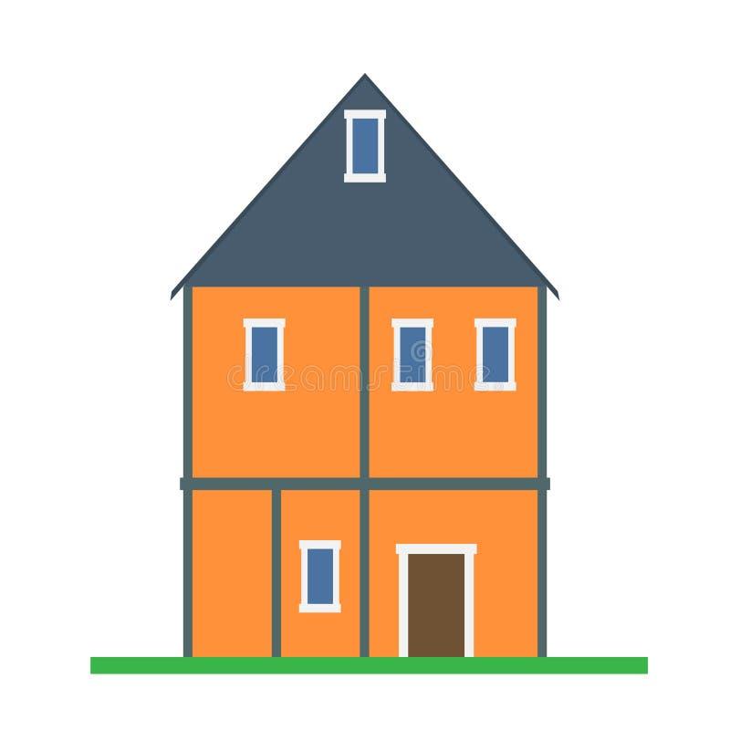 Vetor da casa que constrói o isolatd do ícone dos bens imobiliários Apartamento liso exterior da casa de campo da opinião diantei ilustração do vetor