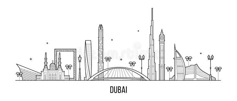 Vetor da cidade de Emiratos Árabes Unidos UAE da skyline de Dubai ilustração stock
