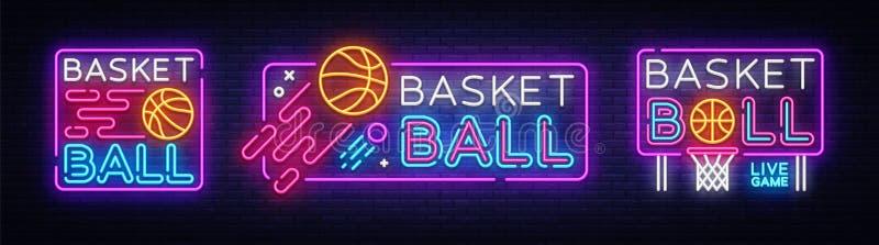 Vetor da coleção do sinal de néon do basquetebol Sinal de néon do molde do projeto do basquetebol, bandeira clara, quadro indicad ilustração stock