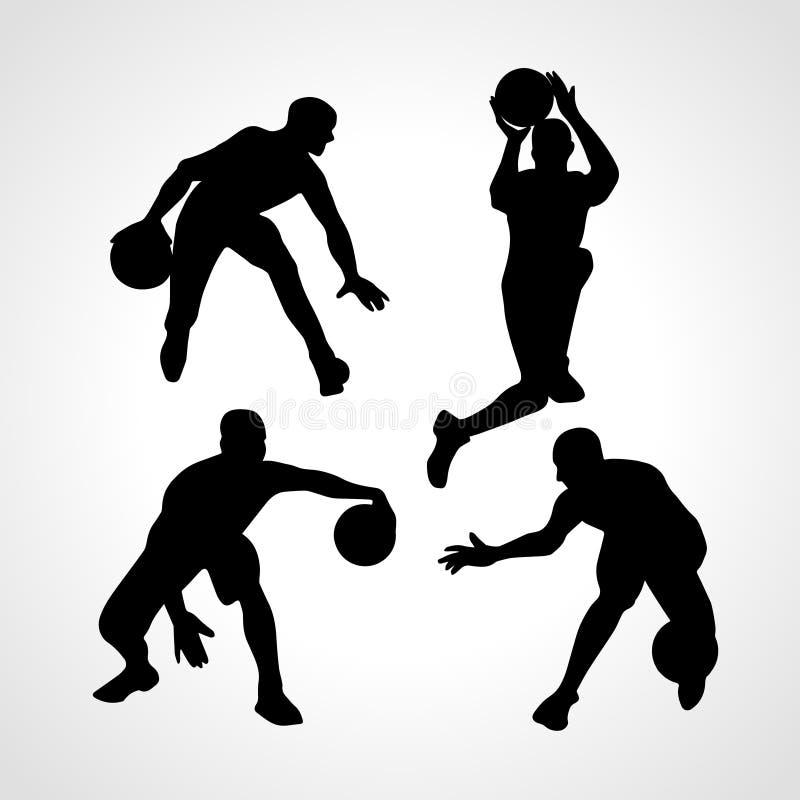 Vetor da coleção dos jogadores de basquetebol ilustração do vetor