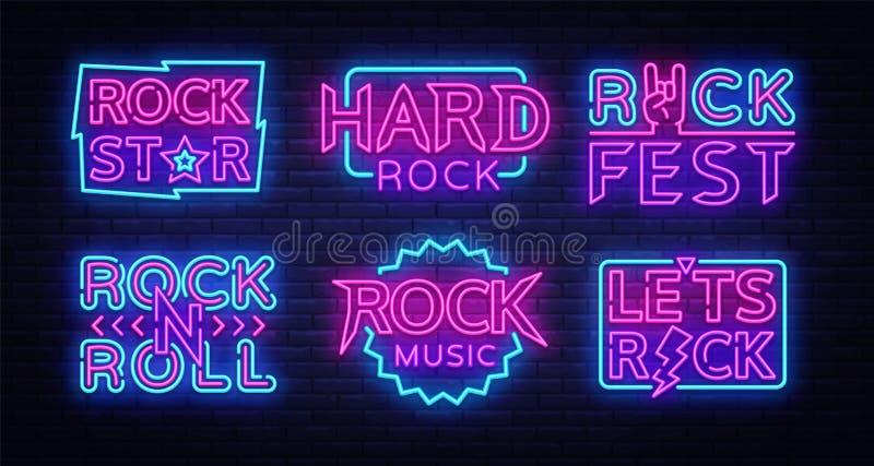 Vetor da coleção dos sinais de néon da música rock Projete o quadro indicador de néon na música rock, bandeira clara do molde, no ilustração stock
