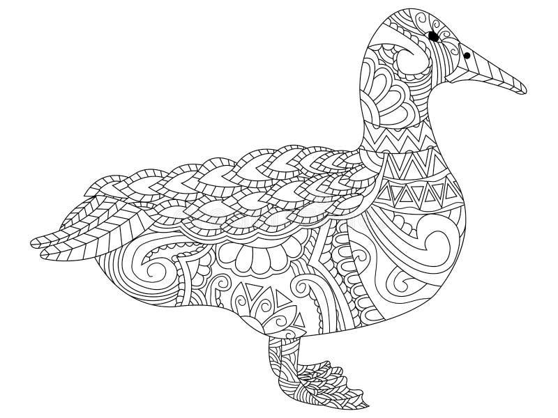 Vetor da coloração do ganso para adultos ilustração stock