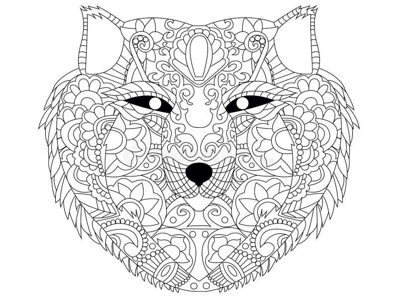 Vetor da coloração do lobo para adultos ilustração stock