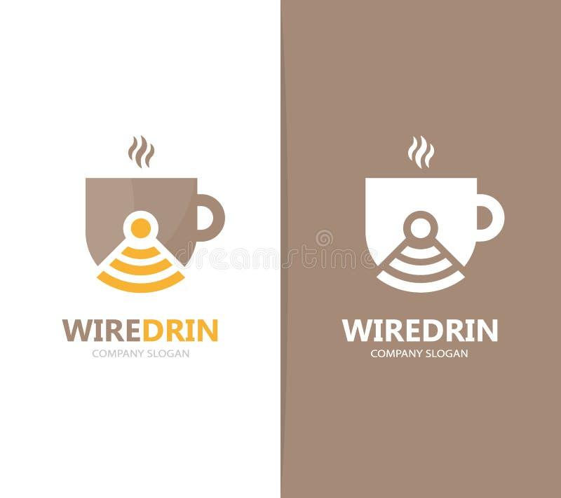 Vetor da combinação do logotipo do café e do wifi Bebida e símbolo ou ícone do sinal Copo e rádio originais, logotype do Internet ilustração do vetor