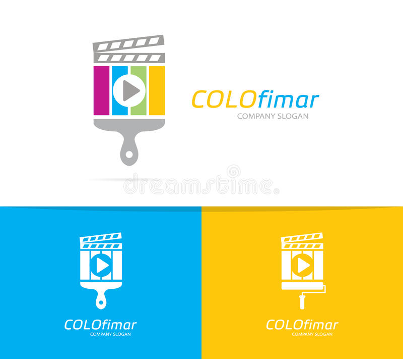 Vetor da combinação do logotipo do clapperboard e da escova Cinema e símbolo ou ícone do pincel Logotype original do filme e do f ilustração stock