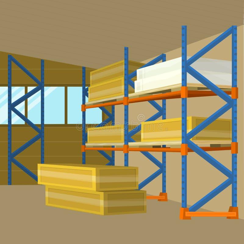 Vetor da construção do hangar do armazém no projeto liso ilustração do vetor