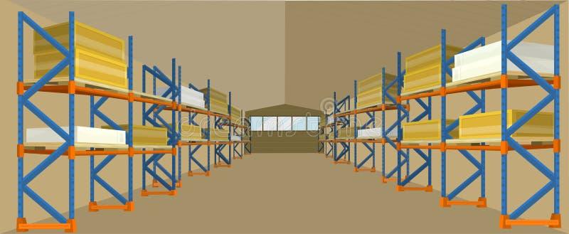 Vetor da construção do hangar do armazém no projeto liso ilustração stock