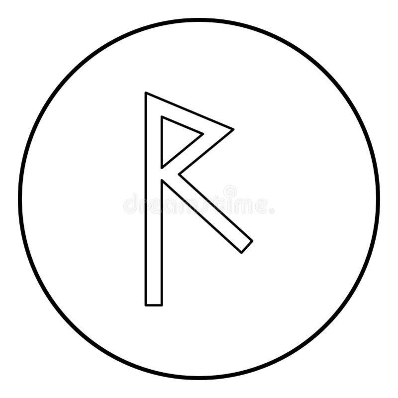 Vetor da cor do preto do esboço do ícone da estrada do símbolo da invasão da runa de Raido na imagem lisa do estilo da ilustração ilustração royalty free