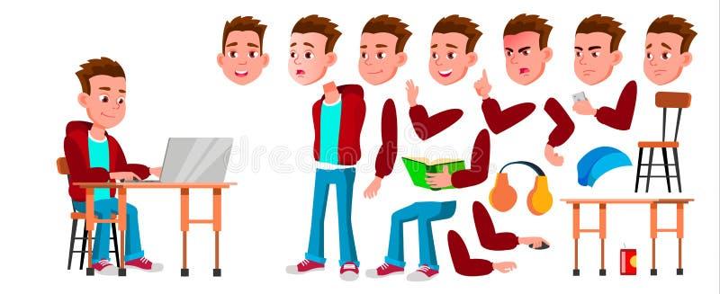 Vetor da criança da estudante do menino Aluno alto Grupo da criação da animação Emoções da cara, gestos Aluno da criança assunto ilustração stock