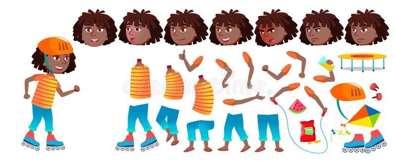 Vetor da criança da estudante da menina preto Afro-americano Grupo da criação da animação Emoções da cara, gestos teenage Livro ilustração stock
