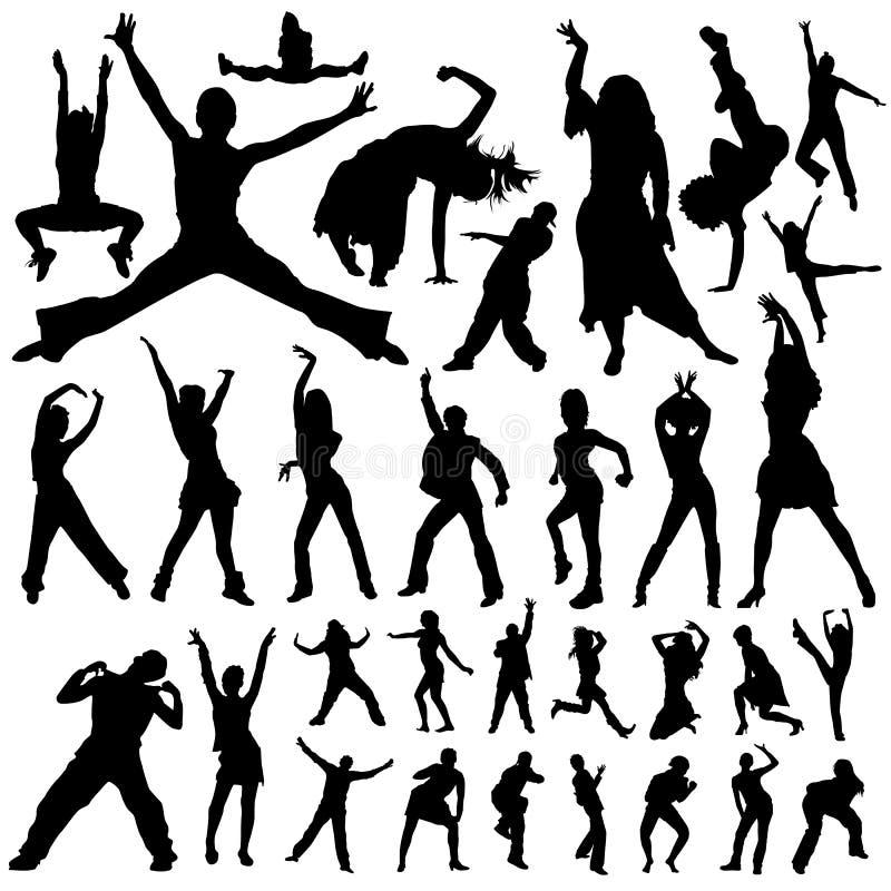 Vetor da dança e dos povos do partido ilustração stock