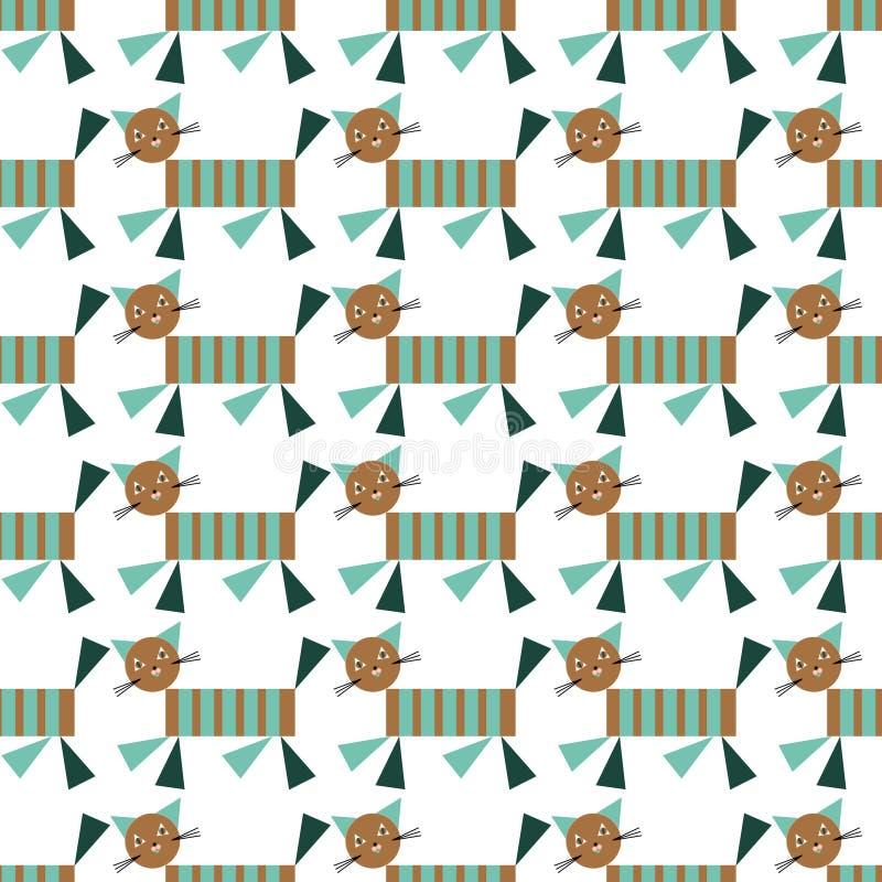 Vetor da edredão de retalhos da criança sem emenda com gatos geométricos e formas geométricas simples Projeto de superfície do te fotografia de stock royalty free