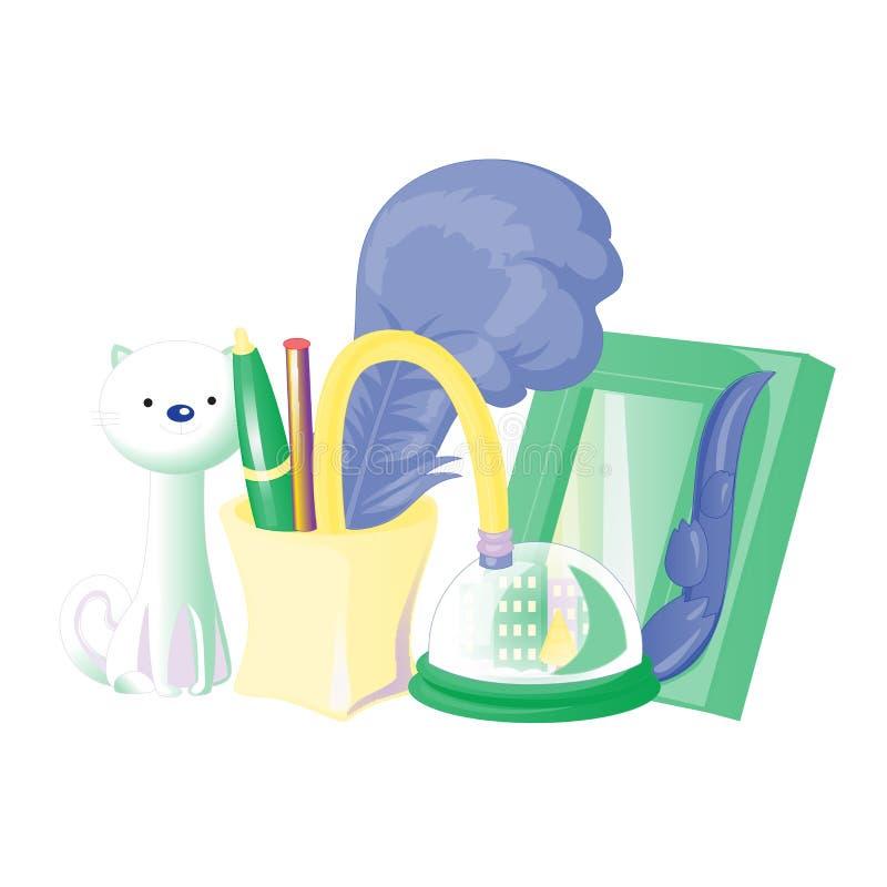 Vetor da escola e dos materiais de escritório ajustado com artigos e coleção coloridos das lembranças em um fundo branco Ilustraç ilustração do vetor