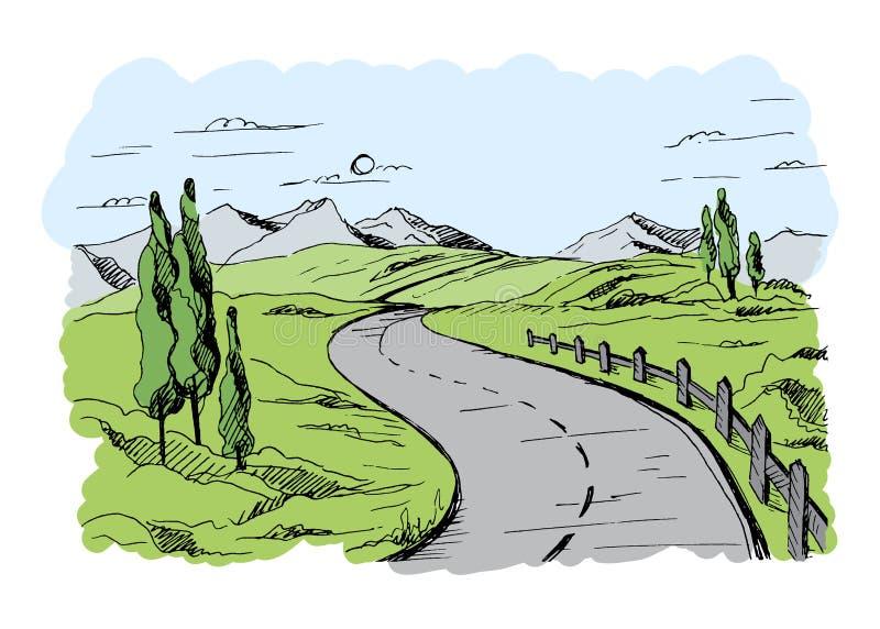 Vetor da estrada da montanha ilustração do vetor