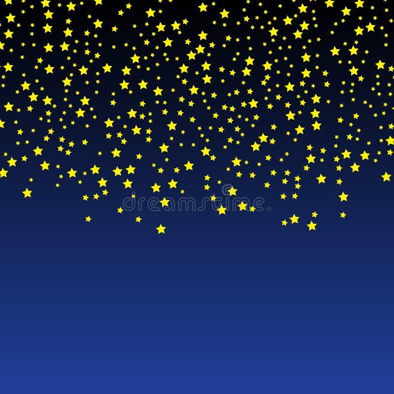 Vetor da estrela do ouro Teste padrão dos confetes do brilho Estrelas douradas de queda fundo escuro simples EPS10 ilustração royalty free