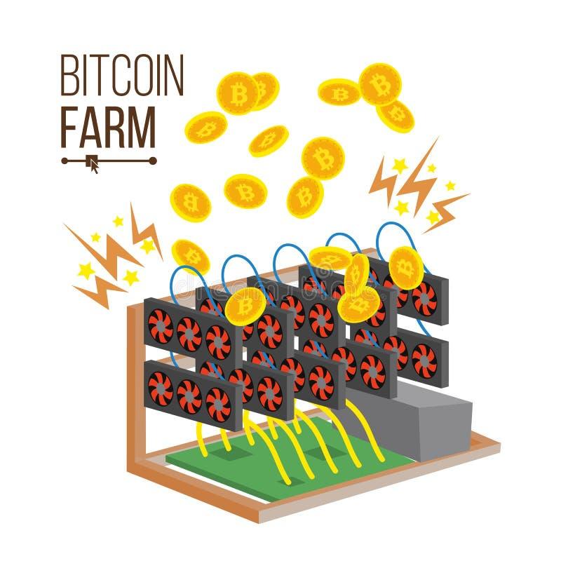 Vetor da exploração agrícola de Bitcoin Exploração agrícola da mineração de Cryptocurrency placa de vídeo Moedas de ouro virtuais ilustração royalty free
