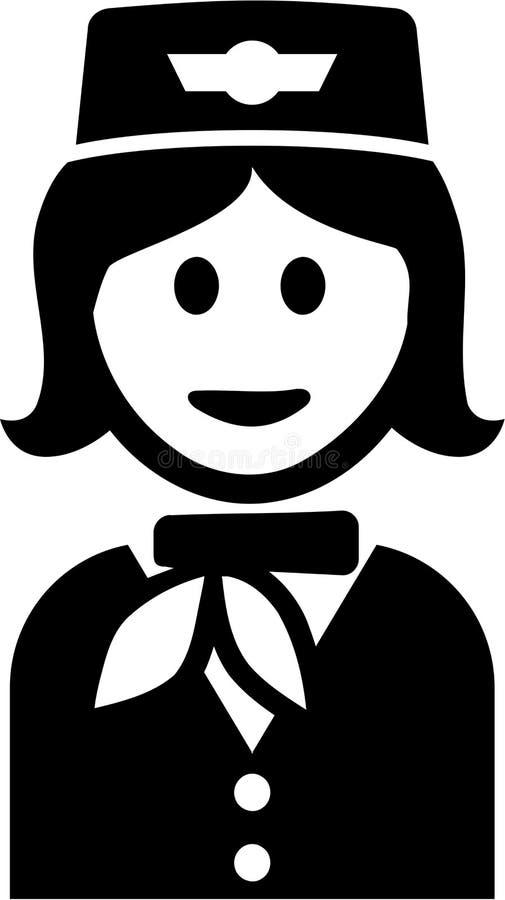 Vetor da fêmea de Pictogram da comissária de bordo ilustração stock