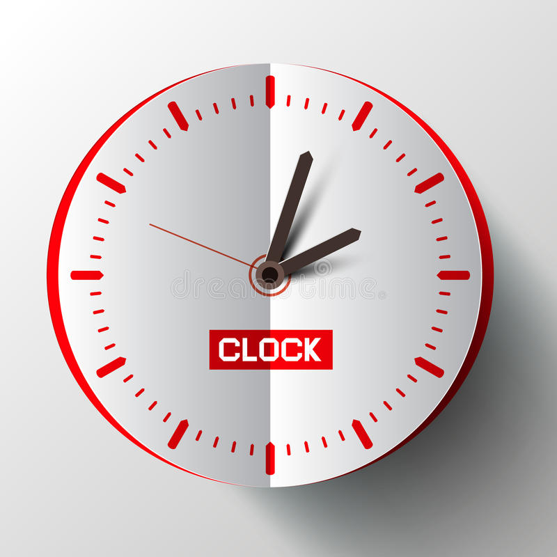 Vetor da face do relógio do corte do papel ilustração stock