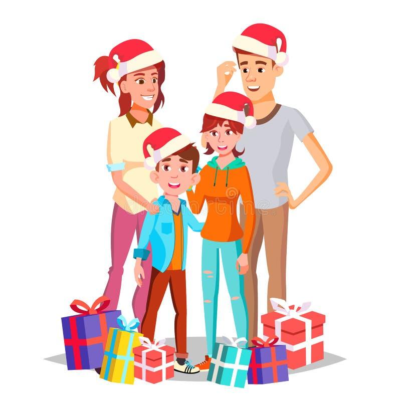 Vetor da família do Natal Paizinho, mãe, crianças Em Santa Hats feliz Presentes do ano novo Retrato Bandeira, inseto, folheto ilustração royalty free