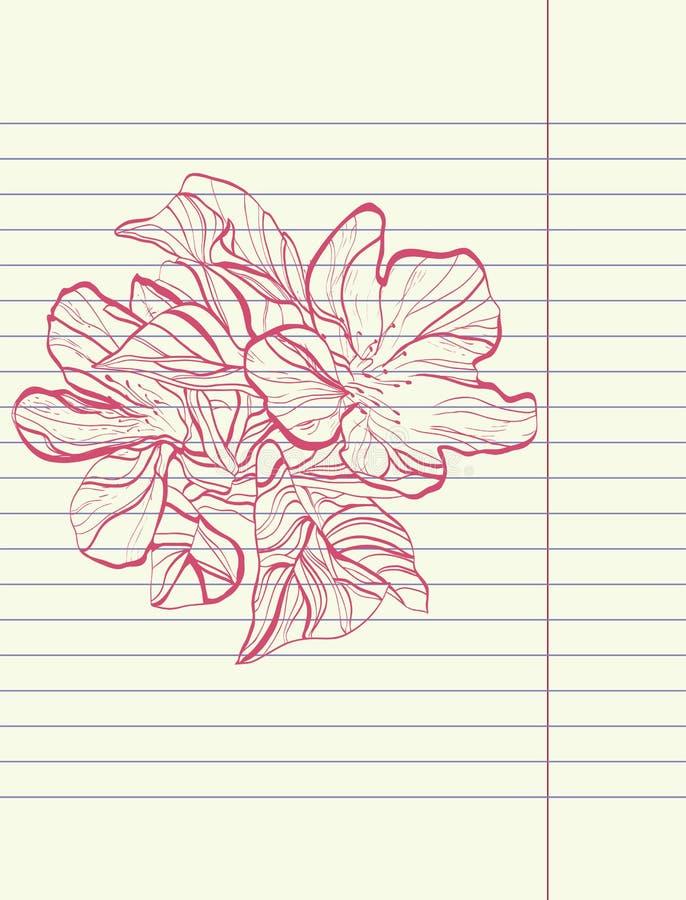 Vetor da flor do esboço do desenho da mão ilustração stock