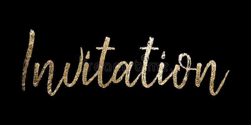 Vetor da folha de ouro do convite que rotula no fundo preto Uso para convites elegantes para o partido, celebração, casamento, ga ilustração royalty free