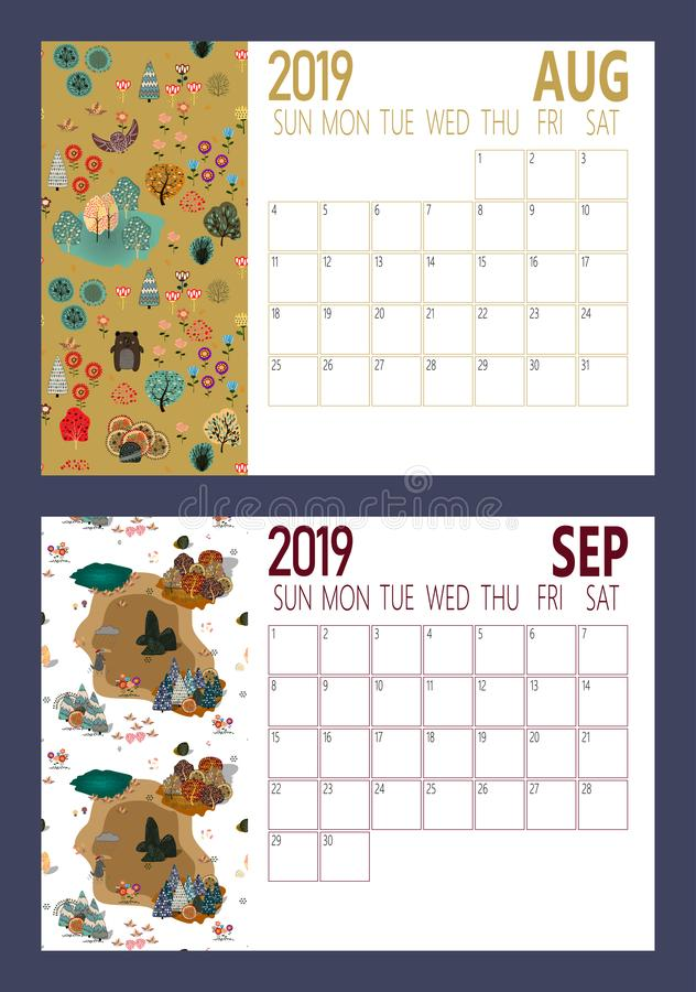 Vetor da folha do calendário do ano 2019 novo com tamanho da floresta A4 ilustração do vetor