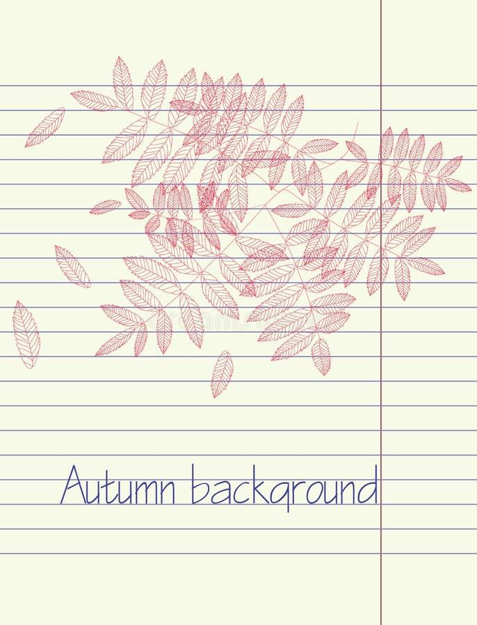 Vetor da folha do outono do desenho da mão ilustração stock