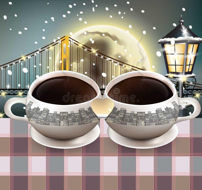 Vetor da forma do coração das canecas de café Lua cheia sobre o fundo da ponte Moldes românticos do vetor da noite do inverno ilustração royalty free