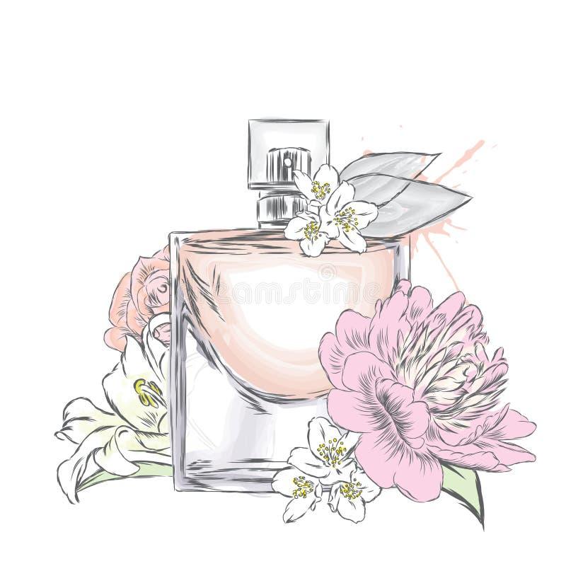 Vetor da garrafa de perfume Cópia na moda imagem de stock royalty free