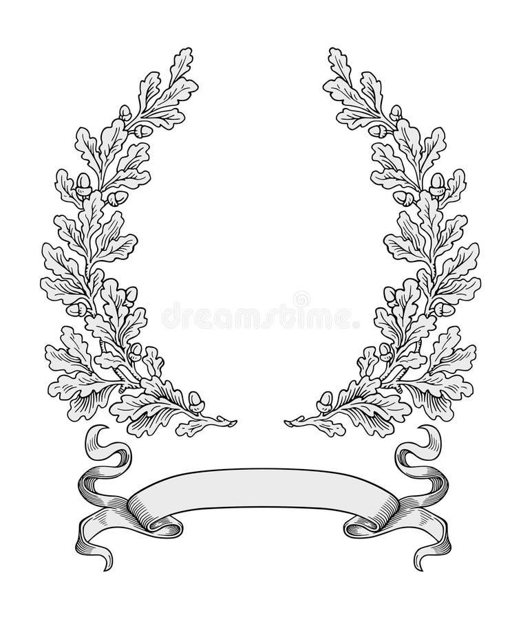 Vetor da grinalda do carvalho ilustração royalty free
