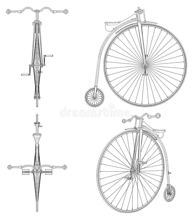 Vetor da ilustração da bicicleta do Moeda de um centavo-Farthing ilustração stock
