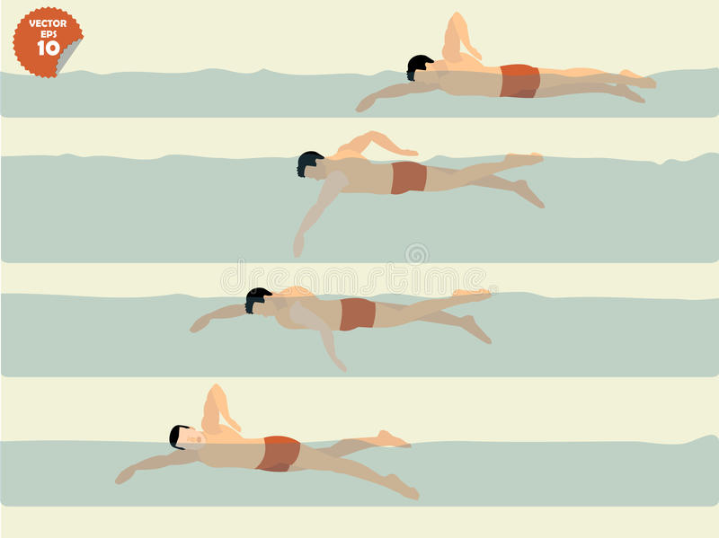 Vetor da ilustração da natação livre do estilo, projeto da natação imagens de stock
