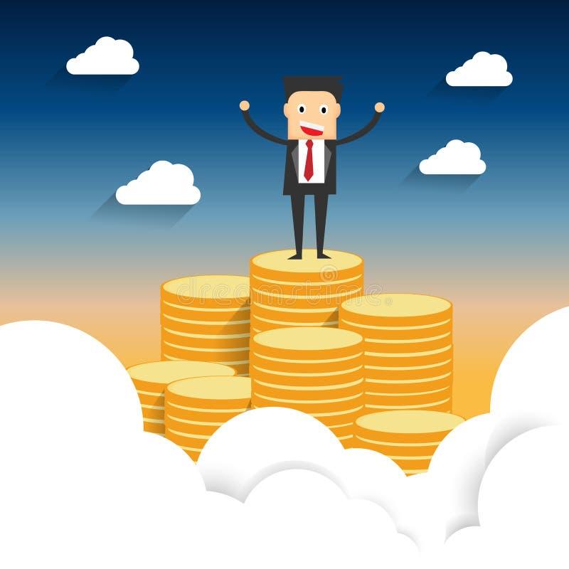 Vetor da ilustração de um homem de negócio bem sucedido que está sobre a montanha da moeda que levanta acima dos ambos a mão ilustração do vetor