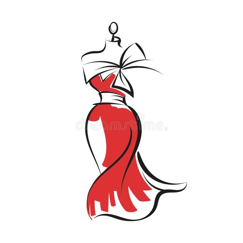 Vetor da ilustração do desenho da mão do vestido do manequim ilustração do vetor