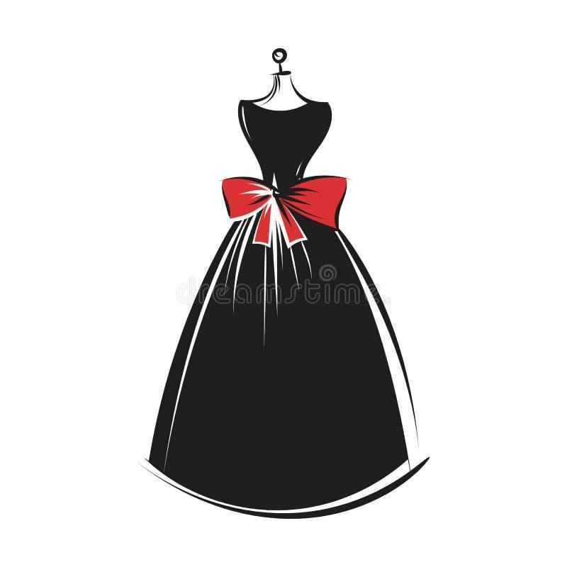 Vetor da ilustração do desenho da mão do vestido do manequim ilustração stock