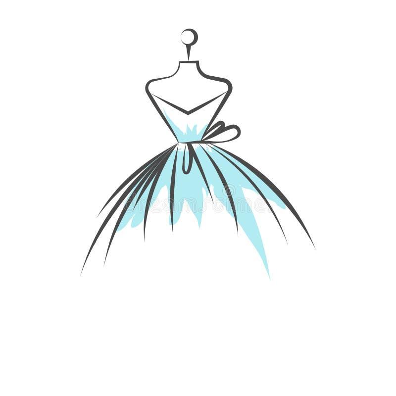 Vetor da ilustração do desenho da mão do vestido do manequim ilustração royalty free