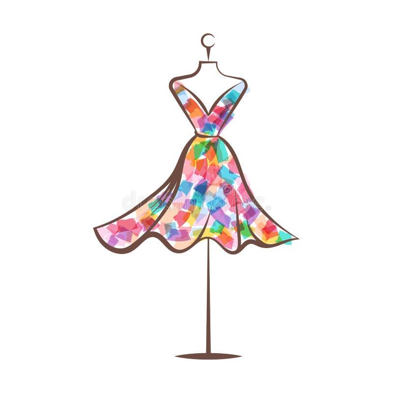 Vetor da ilustração do desenho da mão do vestido do manequim imagem de stock