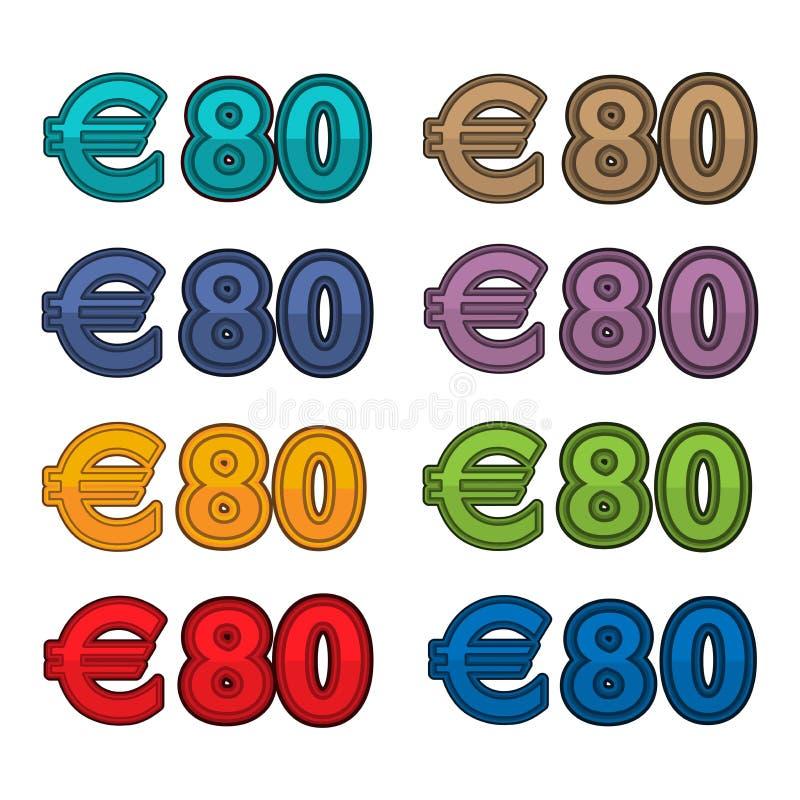 Vetor da ilustração do euro do preço 80, moeda de Europa ilustração do vetor