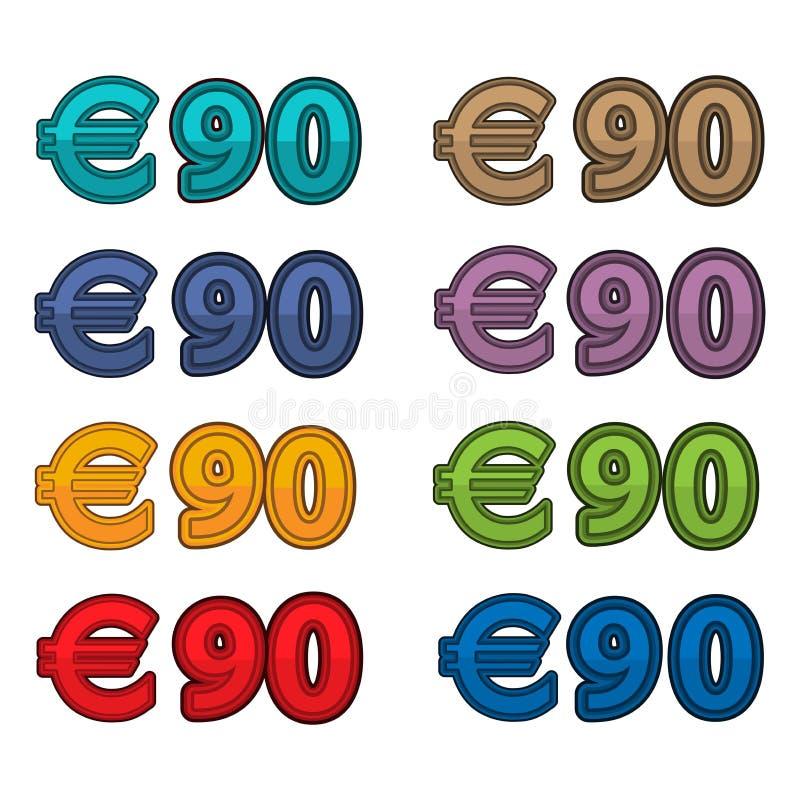 Vetor da ilustração do euro do preço 90, moeda de Europa ilustração royalty free
