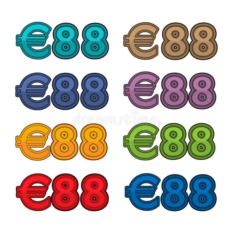 Vetor da ilustração do euro do preço 88, moeda de Europa ilustração stock